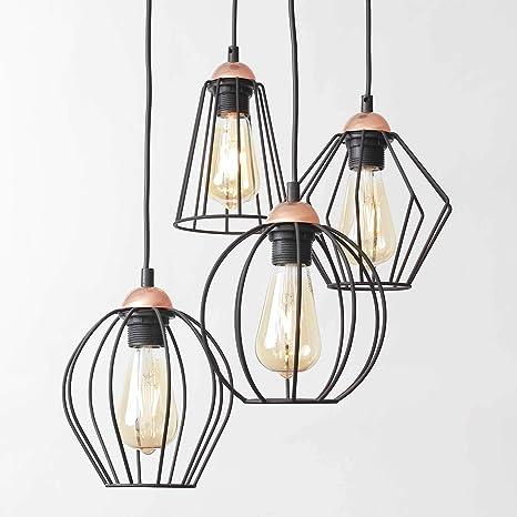 Retro LED Pendel Lampe Wohn Zimmer Decken Beleuchtung Käfig Hänge Leuchte kupfer