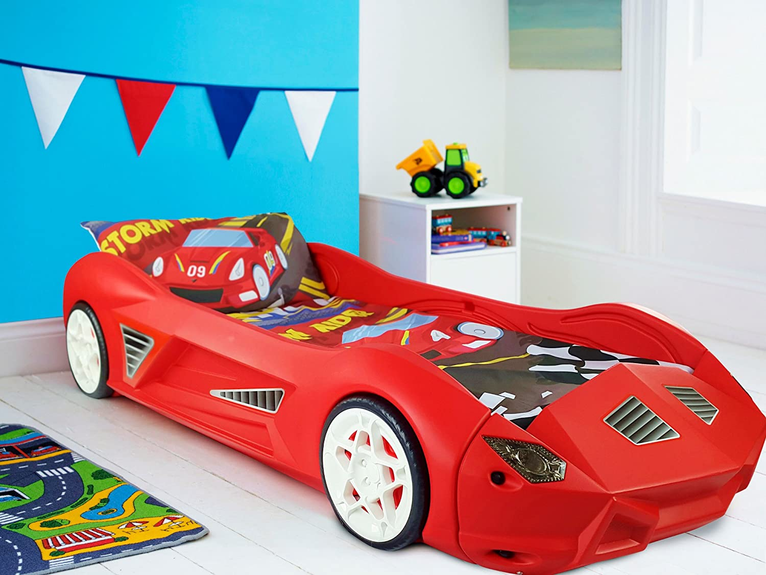 Uncategorized Bed Car storm childrens racing car bed with mattress amazon co uk kitchen home