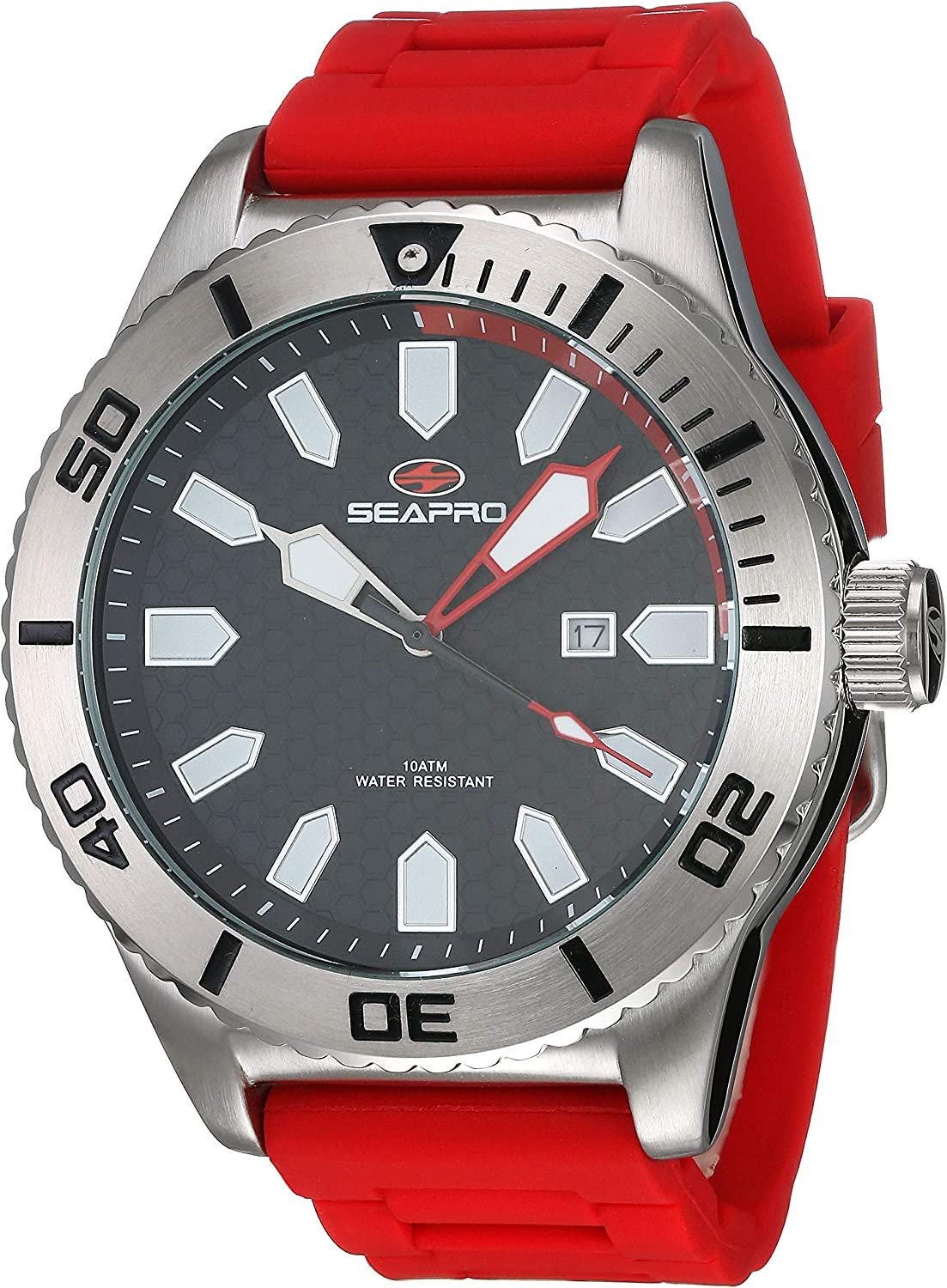 Seapro Men's Brigade Stainless Steel Quartz Silicone Strap, red, 21 Casual Watch (Model: SP1311)
