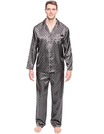 eed644e88d Noble Mount Twin Boat Men s Satin Pajama Set - Diamond Squares Dark Grey -  Medium