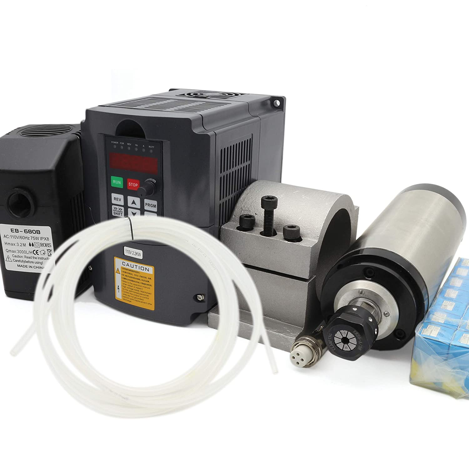 2.2KW Water Cooled Spindle Motor ER20 24000rpm 400Hz+2.2KW VFD Inverter Variable Frequency Driver 110V+80mm Clamp+75W Pump+6m Pipe+14pcs Collet CNC Kit for CNC Router Engraving Milling Machine