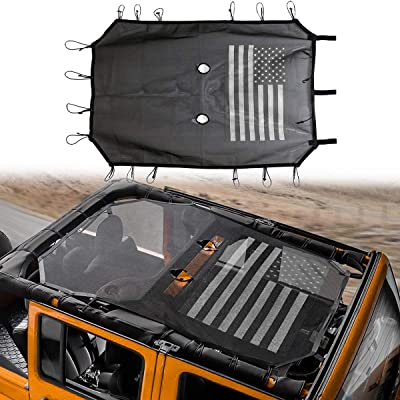 Sunshade Mesh Shade Top Cover with USA Flag Provides UV Protection for 4-Door Jeep Wrangler JK or JKU 2007-2020: Automotive