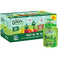GoGo squeeZ Applesauce, Apple Apple, 3.2 oz (20 Pouches), Gluten Free, Vegan Friendly, Unsweetened Applesauce, Recloseable, BPA Free Pouches