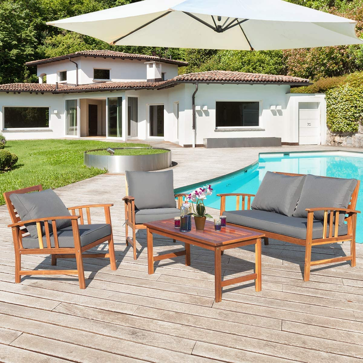 Amazon Com Tangkula 4 Pcs Wood Patio Furniture Set Outdoor Seating Chat Set With Gray Cushions Back Pillow Outdoor Conversation Set With Coffee Table Ideal For Garden Backyard Poolside Garden Outdoor