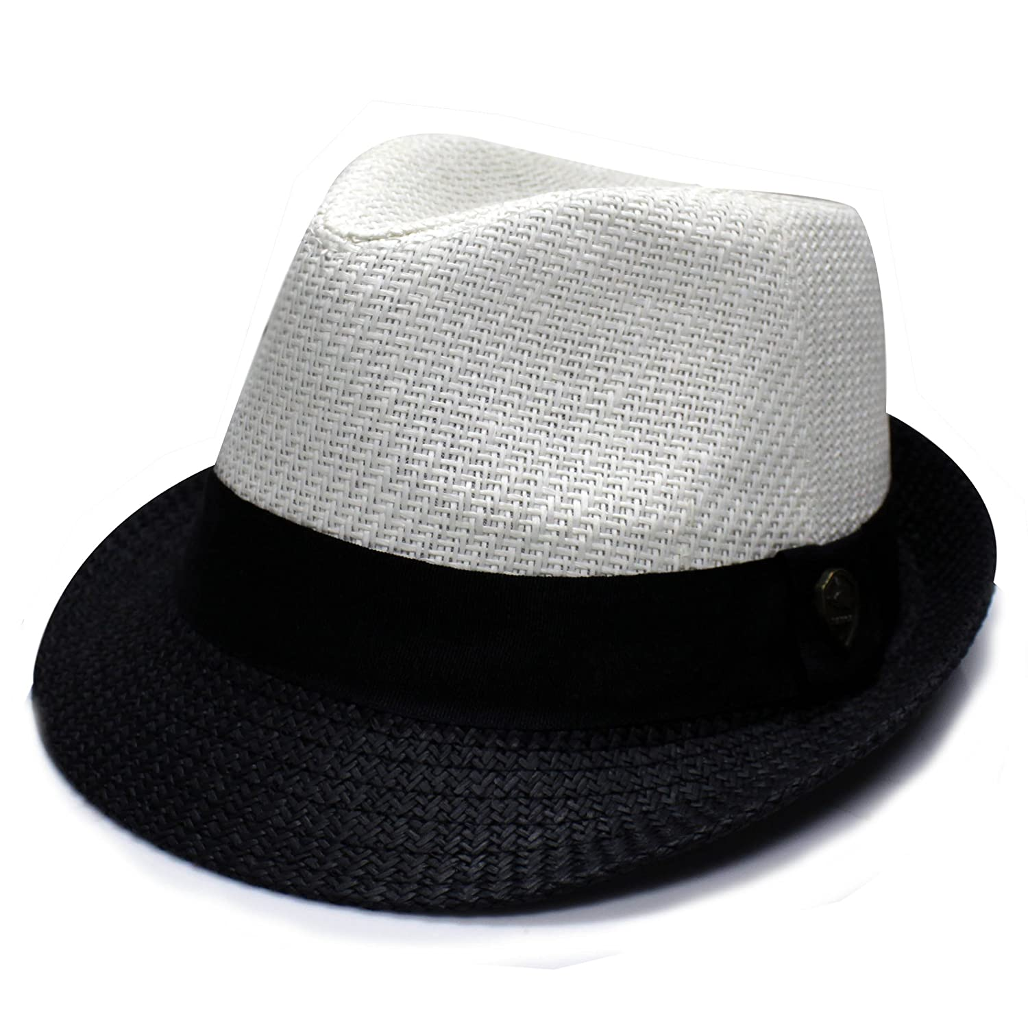 e82a4b24df3be City Hunter Pms390 Unisex Two Tone Summer Straw Fedora Hat - 3 Colors