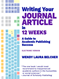 Writing Your Journal Article in Twelve Weeks: A Guide to Academic Publishing Success (electronic version)