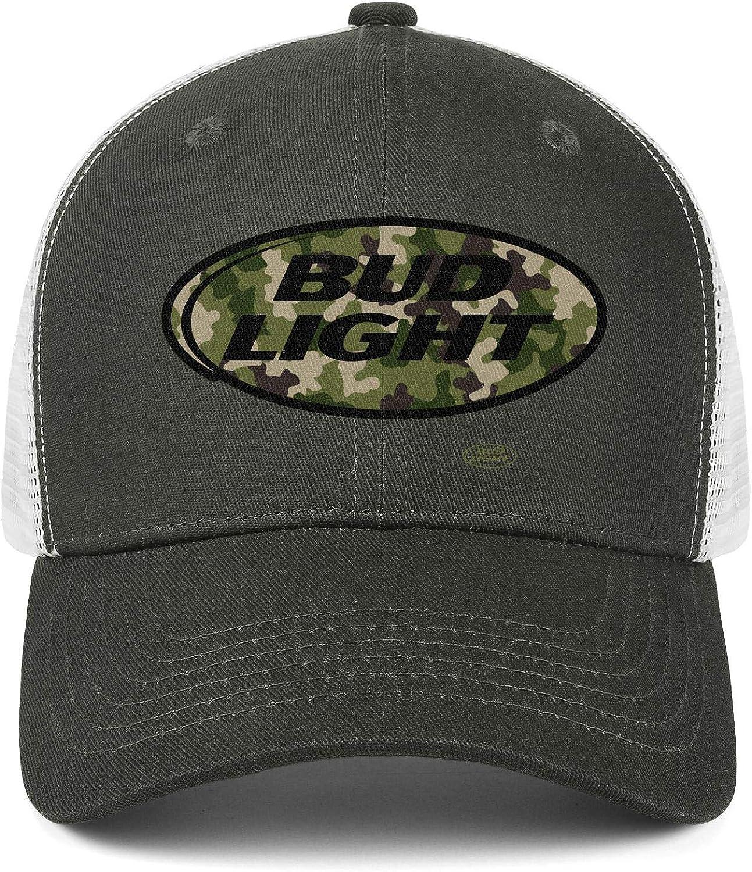 Men Unisex Adjustable Bud-Light-Beer-United-States-Black-Camouflage-Army-Baseball Caps Cartoons Flat Hat