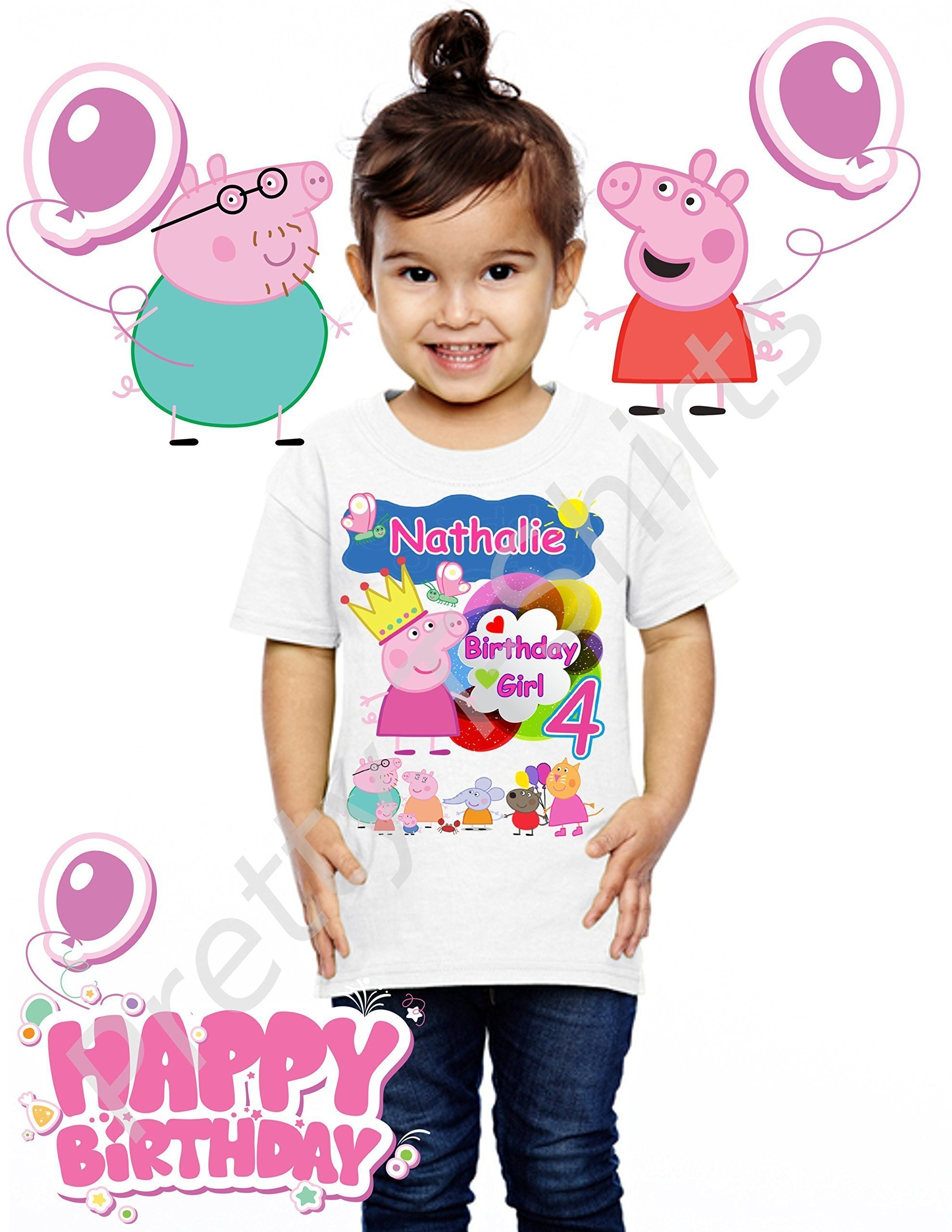Peppa Pig Birthday Shirt, ADD any name and ANY age, Girl Birthday Shirt, Family Matching Shirts, Peppa Birthday Shirt, Peppa Shirt, Peppa Pig, Princess Peppa, VISIT OUR SHOP!!