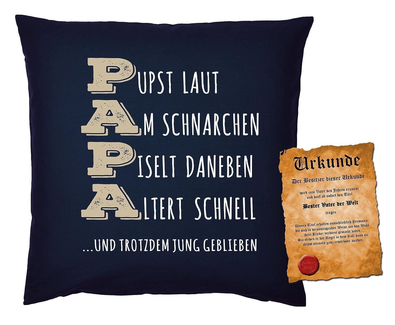 Mega-Shirt Kissen für Väter cooles Kissen mit Füllung und Urkunde ...