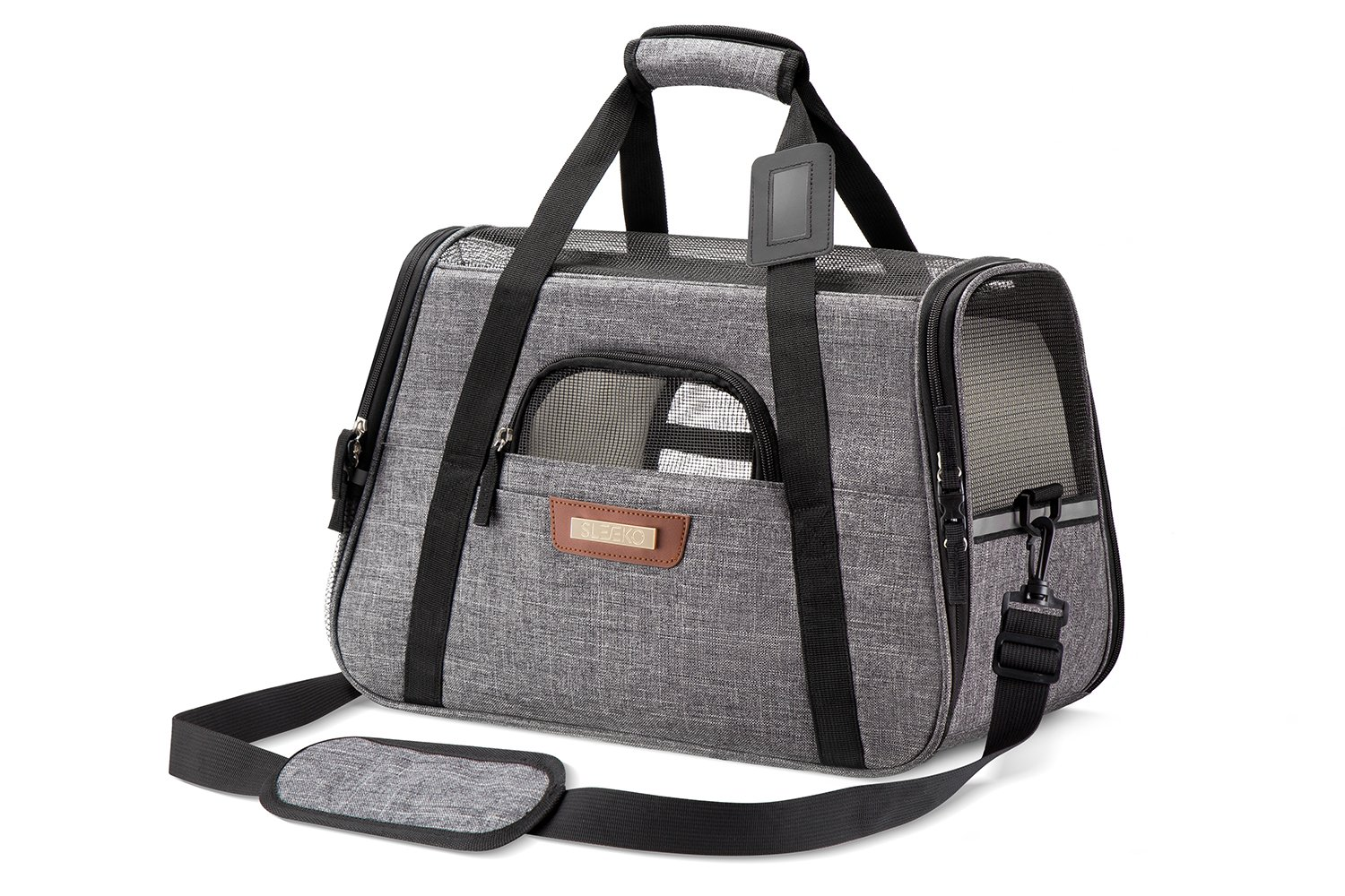 SLEEKO Pet Carrier Airline Approved for Cats and Dogs (Small) Under Seat Tote Bag w/Sling Shoulder Carry Strap | Padded Fleece Sleep Pads, Soft Side Mesh Breathability | Incl. Storage Case by SLEEKO (Image #1)