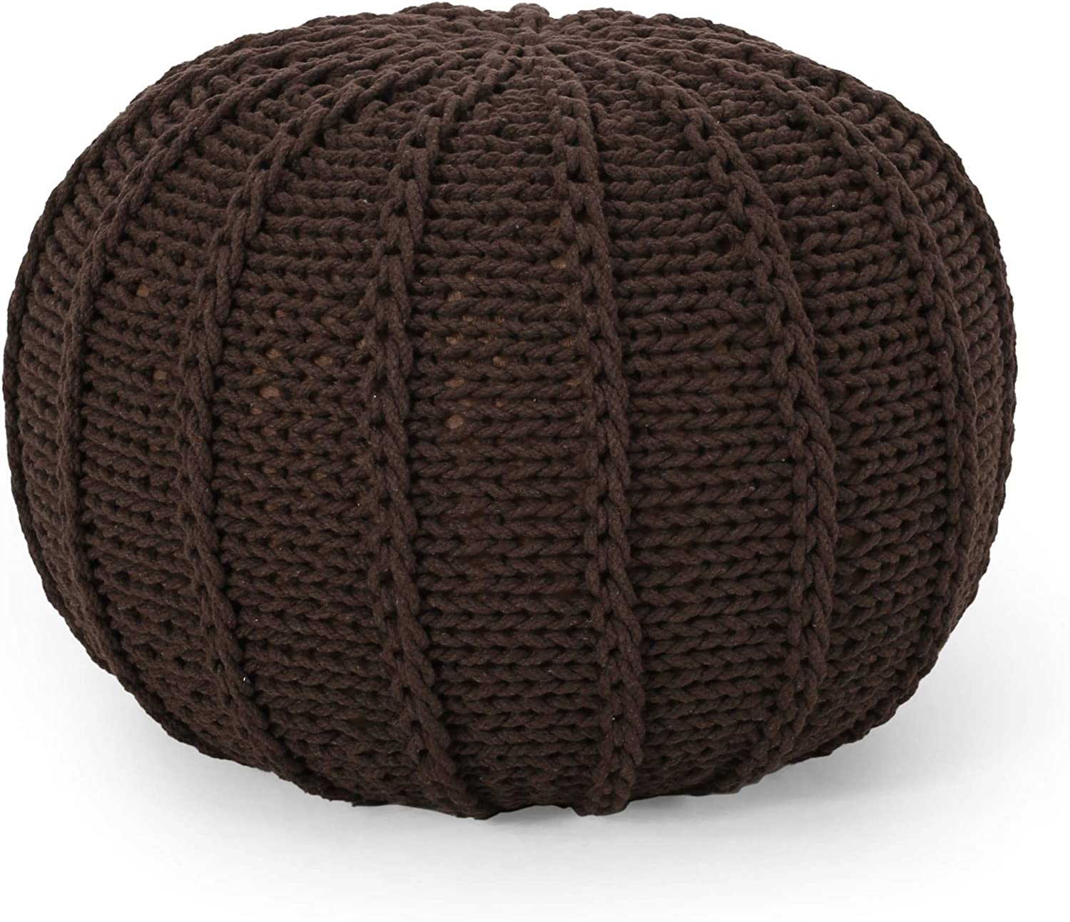 Christopher Knight Home Corisande Modern Knitted Cotton Round Pouf, Brown