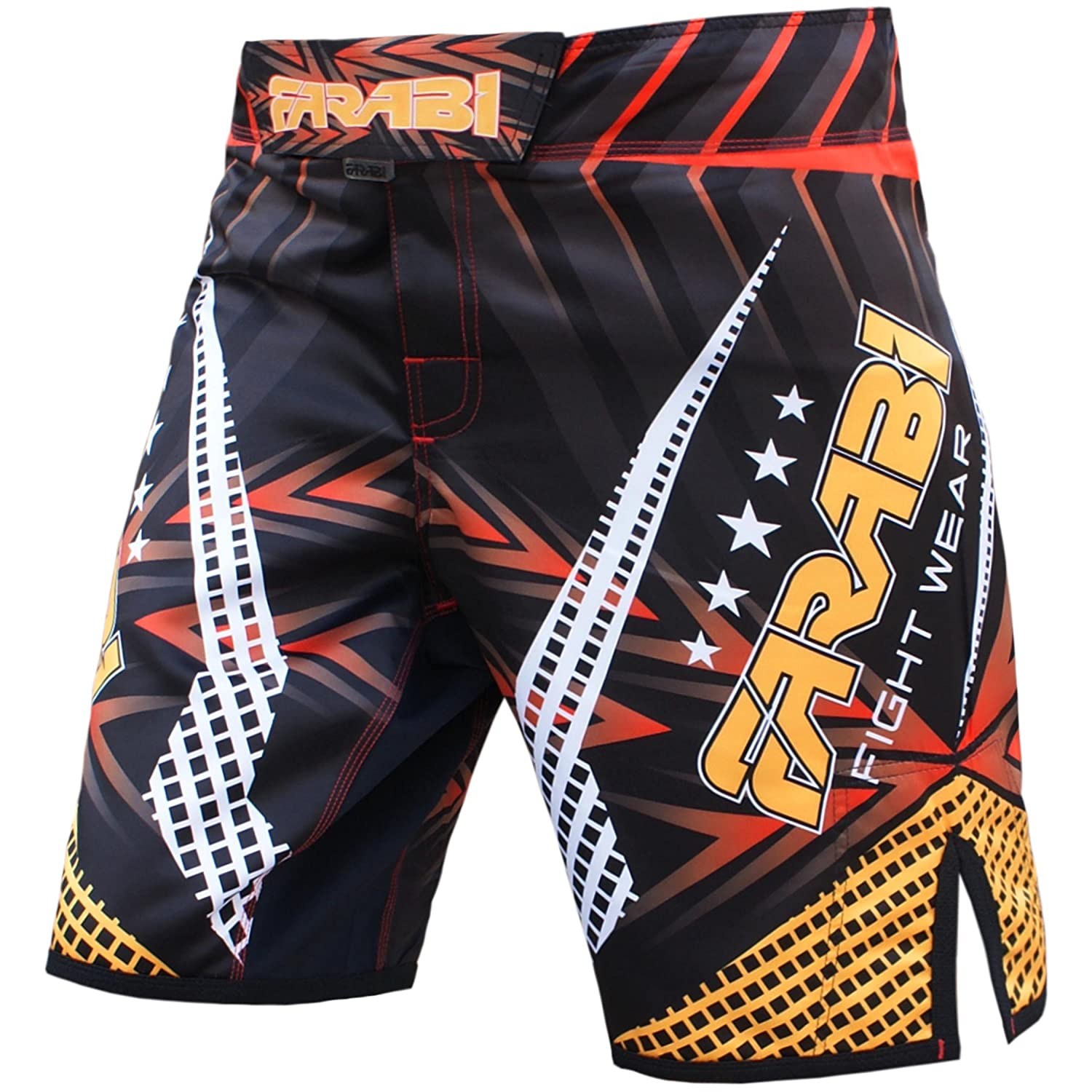 MMA Shorts Compitiion Training Cage Fight Kick Boxing Muay Thai Pant, Size Guideline in Pictures Area Farabi Sports
