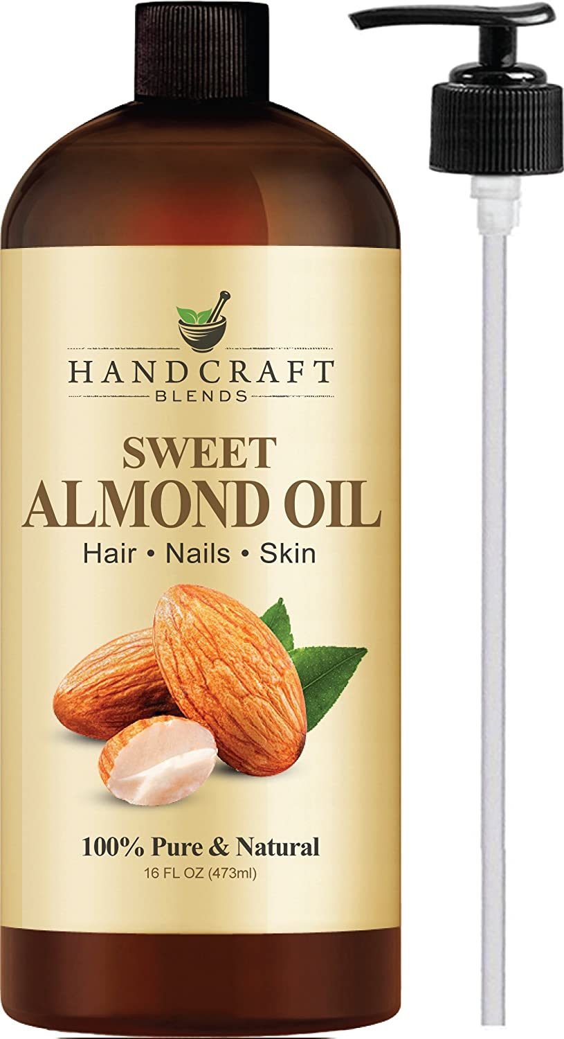 Handcraft Pure Sweet Almond Oil - 100 Percent All Natural - Premium Therapeutic Grade Carrier Oil for Aromatherapy, Massage, Moisturizing Skin and Hair - Huge 16 oz