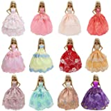 K.T. Fancy 6 PCS Handmade Fashion Party Dresses Clothes for Barbie Doll Kid Xmas Brithday Gift