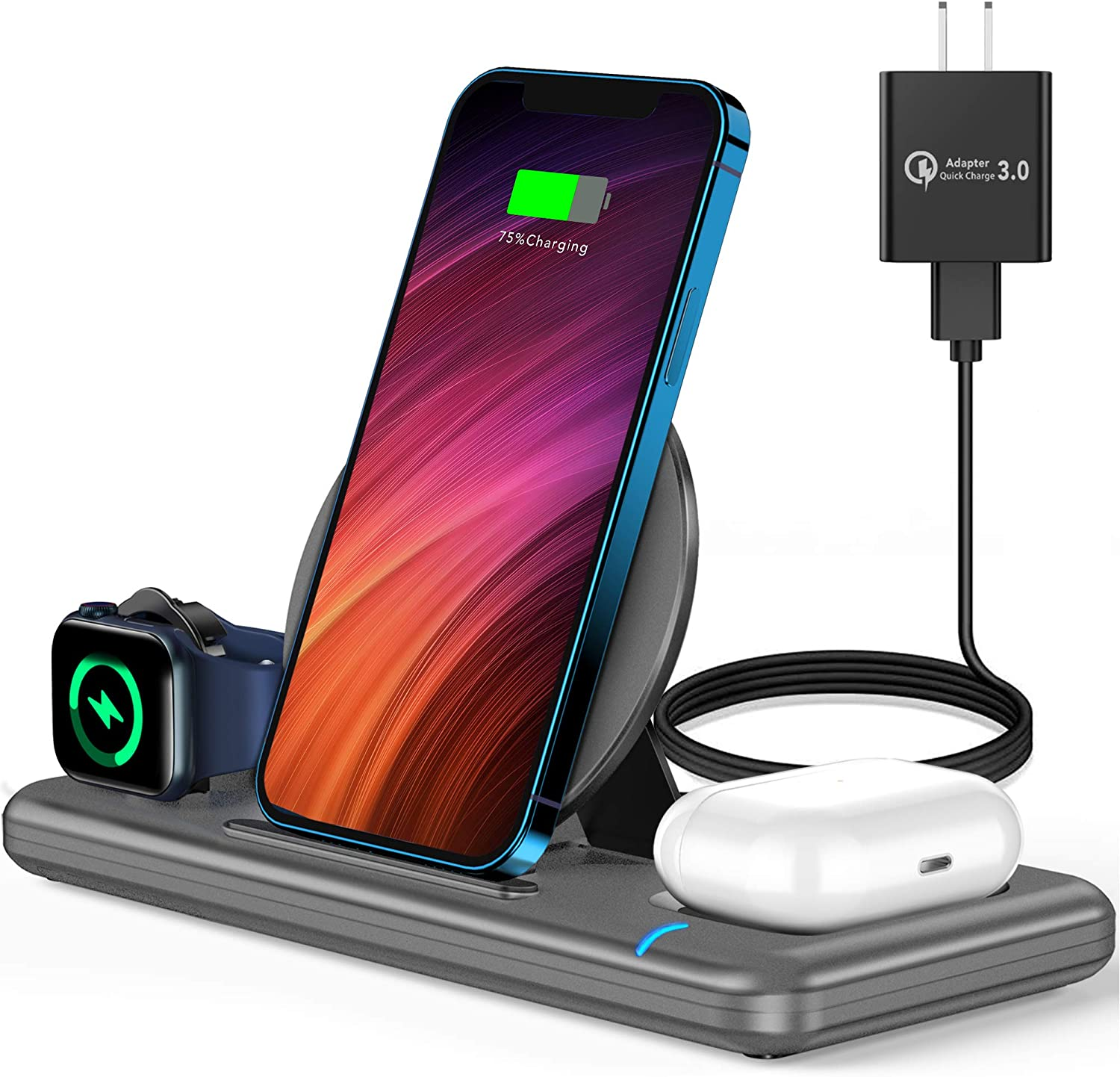 Wireless Charger, 3 in 1 Wireless Charger Station for Apple Watch SE 6 5 4 3 2, AirPods Pro/2, Wireless Charging Stand Dock with QC3.0 Adapter for iPhone 12 11 Pro Max Xs X Xr 8, Samsung (Grey)