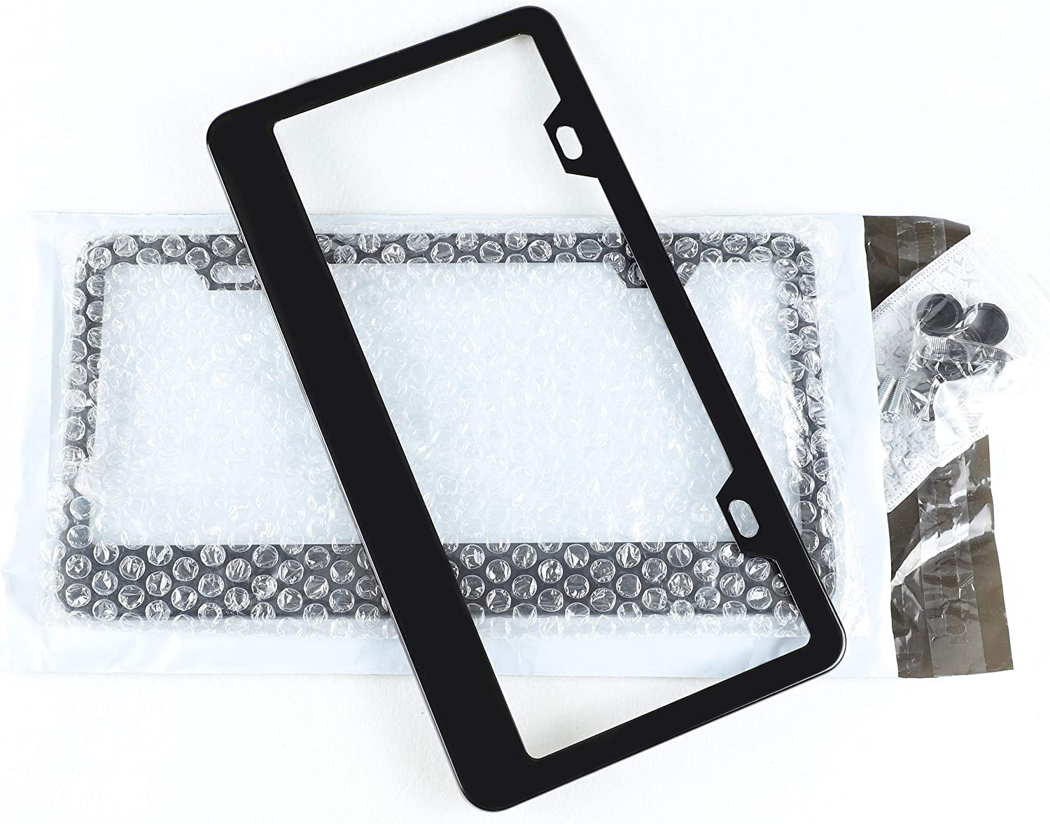 N//M OHIDO 2PCS Black License Plate Frame Powder Coating Heavy Duty Pure Black Plate Cover Metal Superior Plate Frame Holder Stable Frame Bracket for US//CAN 4 Black Caps+8 Alloy Screws+1 Screwdriver