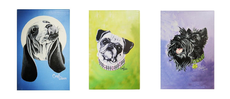 8x12 31000 By ACK 3 Pieces Ceramic Art Tile Set Dog Portraits Collection