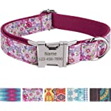 Personalized Dog Collar / Premium Custom Dog Collar with Name Plated / Stainless Steel Buckle / Fashion Patterns Dog Collars / Laser Engraved / Pink Flower Pattern in M-L