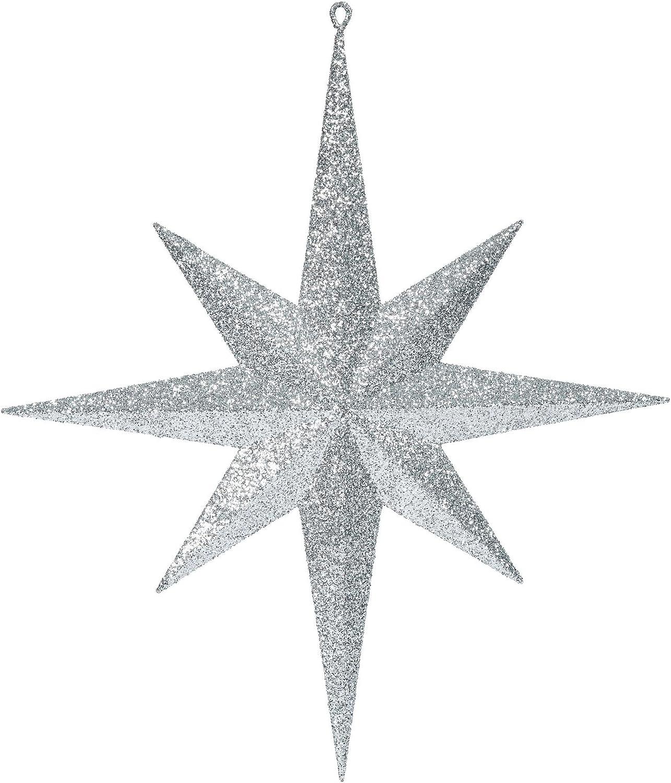 "Vickerman M167507 Plastic Iridescent Glitter Bethlehem Star, 15.75"", Silver"