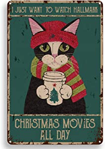ForbiddenPaper Funny Quote Vintage Metal Tin Sign Wall Decor - Retro Christmas Cat Tin Sign for Office/Home/Classroom/Winter Decor Gifts for Women Men Friends Movie Lover - 8x12 Inch