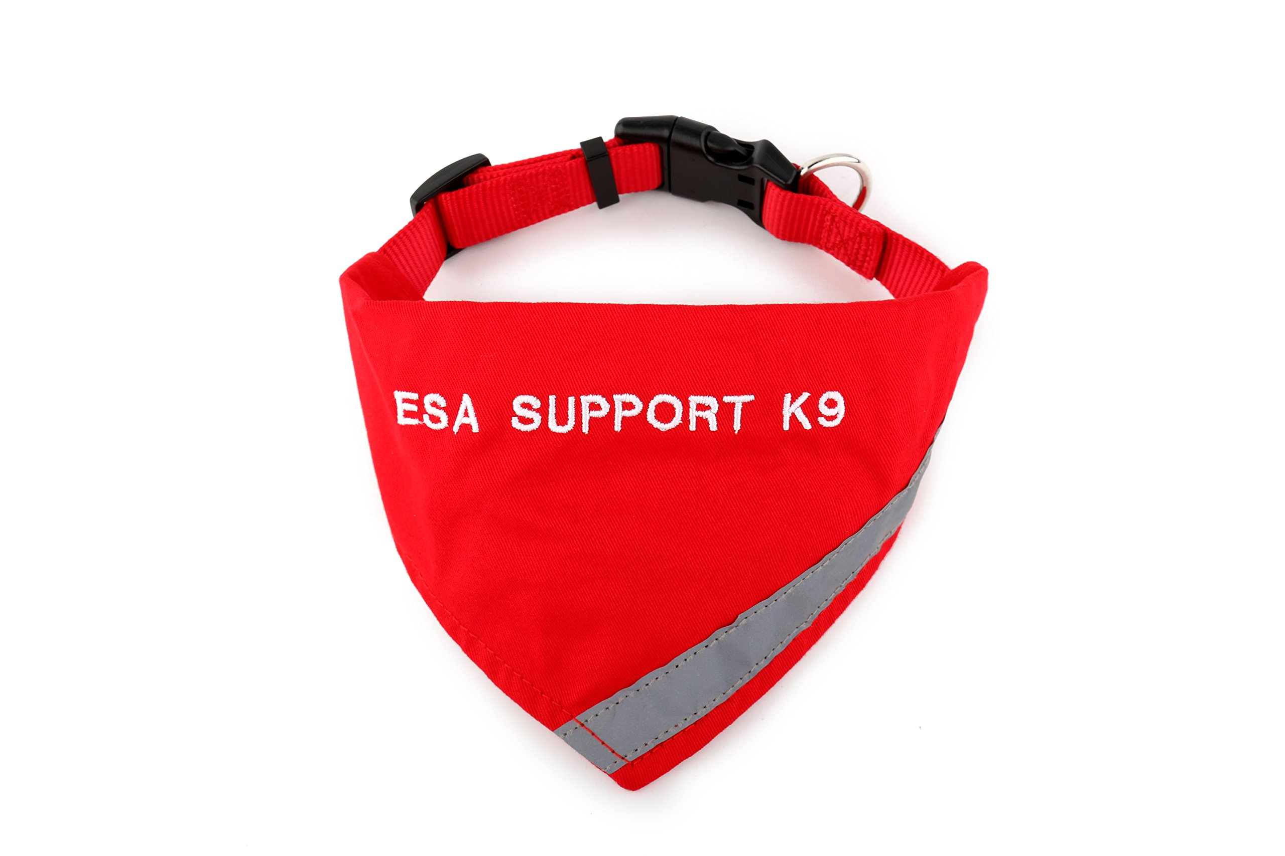 BANDANA embroidered with ''ESA SUPPORT K-9'' | Reflective Strip for pet safety | Built in matching collar to keep bandana secure | Metal ring to attach leash | Four Colors | All Sizes (X-Small to Large) by Register My Service Animal, LLC (Image #1)