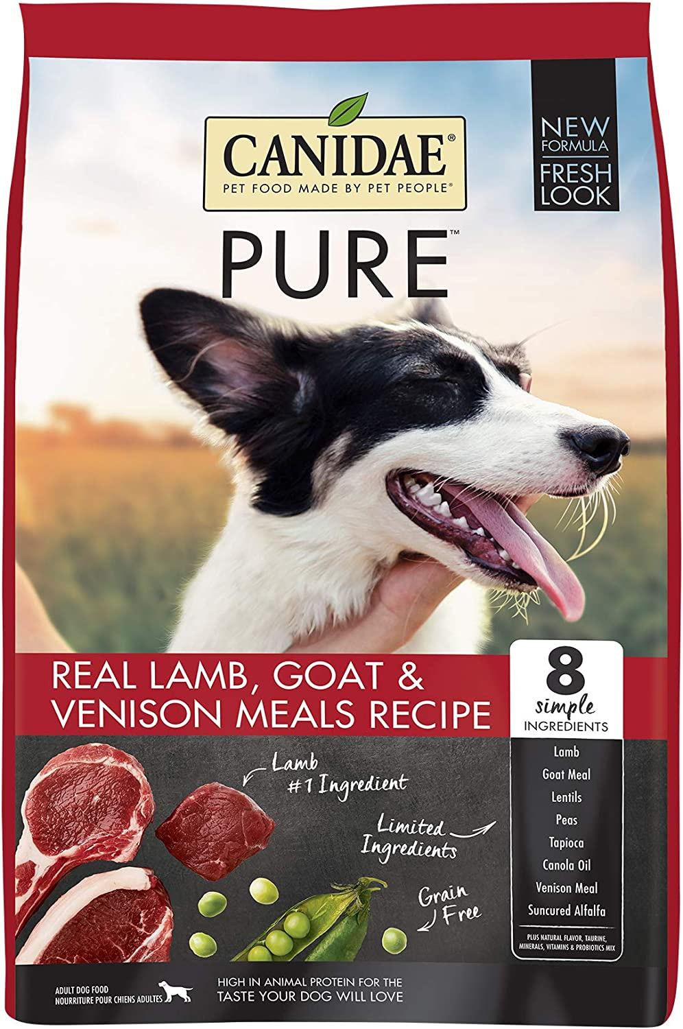 Canidae PURE Grain Free, Limited Ingredient Dry Dog Food, Lamb, Goat and Venison, 12lbs