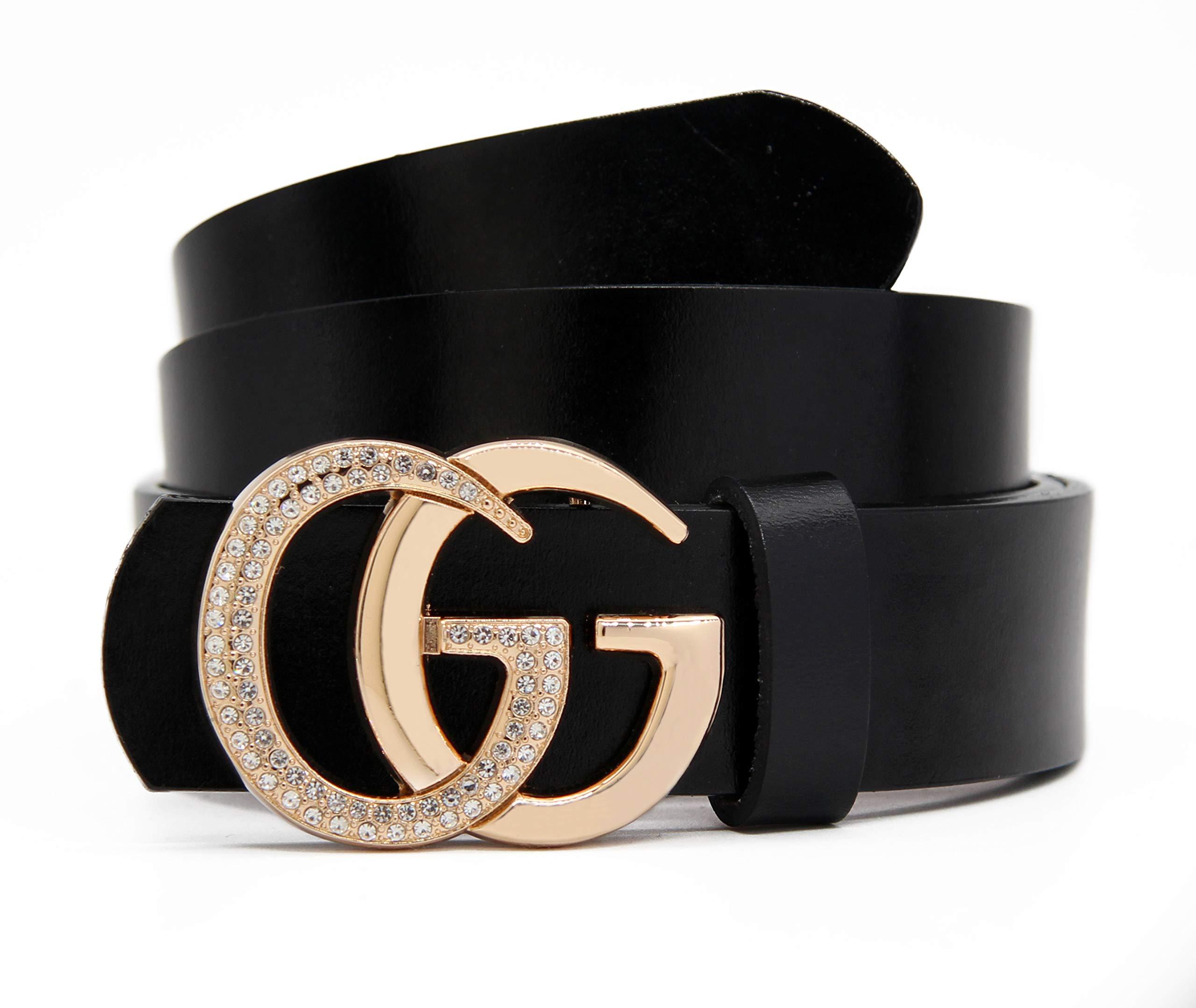 Women's Belts Cowhide Leather Belt Fashion Gold Zircon Buckle Gift Box By GAGOTE