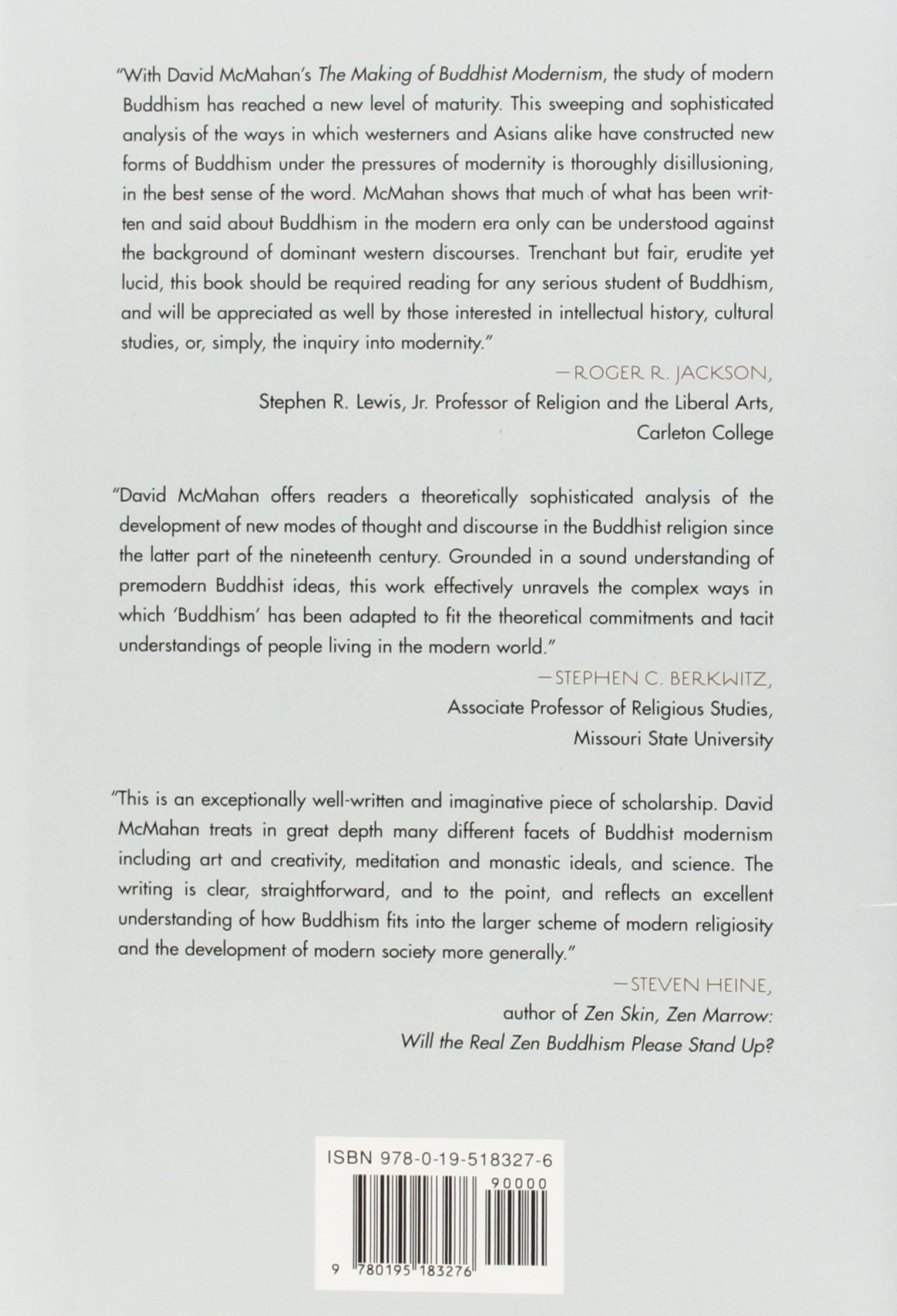 The Making Of Buddhist Modernism: David L Mcmahan: 9780195183276:  Amazon: Books