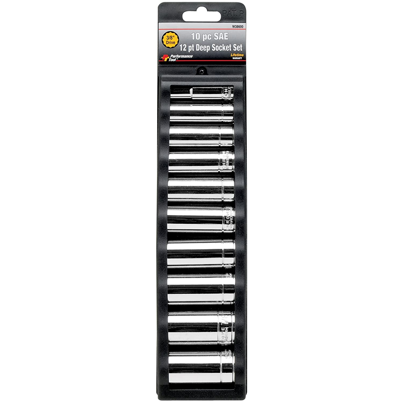 Performance Tool W38600 10-Piece 3//8-Inch Drive 12 Point SAE Deep Socket Wilmar Corporation
