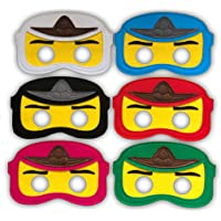 Ninja-GO Felt Party Mask Set (6 mask Set) - Perfect Party Bag fillers,Favours, loot, Supplies