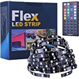 TINGKAM 5050 SMD 32.8ft 10m RGB Flexible LED Strip Light Kit in Black PCB + 44 Key Remote Controller + US Power Supply for Home Lighting