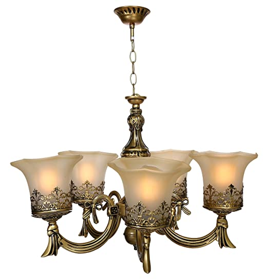 detailed look 3ba3b 277f6 Imper!al Genree Golden Antique 5 Lamp Ceiling Chandelier Jhoomer
