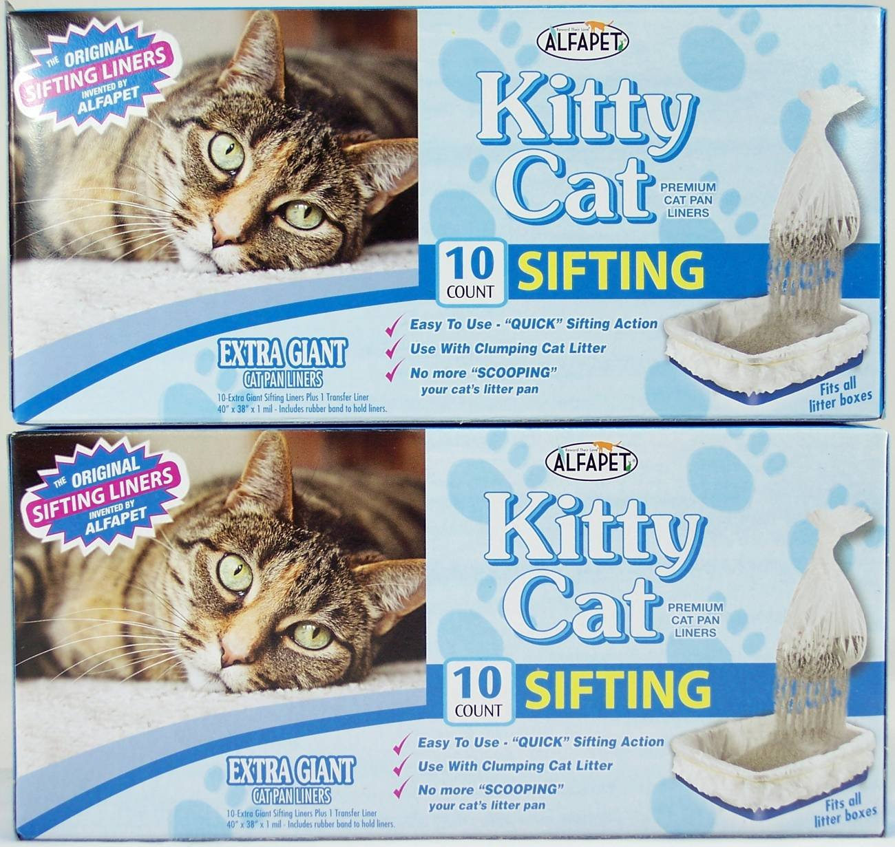 Alfapet Kitty Cat Sifting Litter Box Liners- 10 Per Box Plus 1 Transfer Liner Per Box- 40 in X 38 in (2 Pack/Boxes) by Alfapet