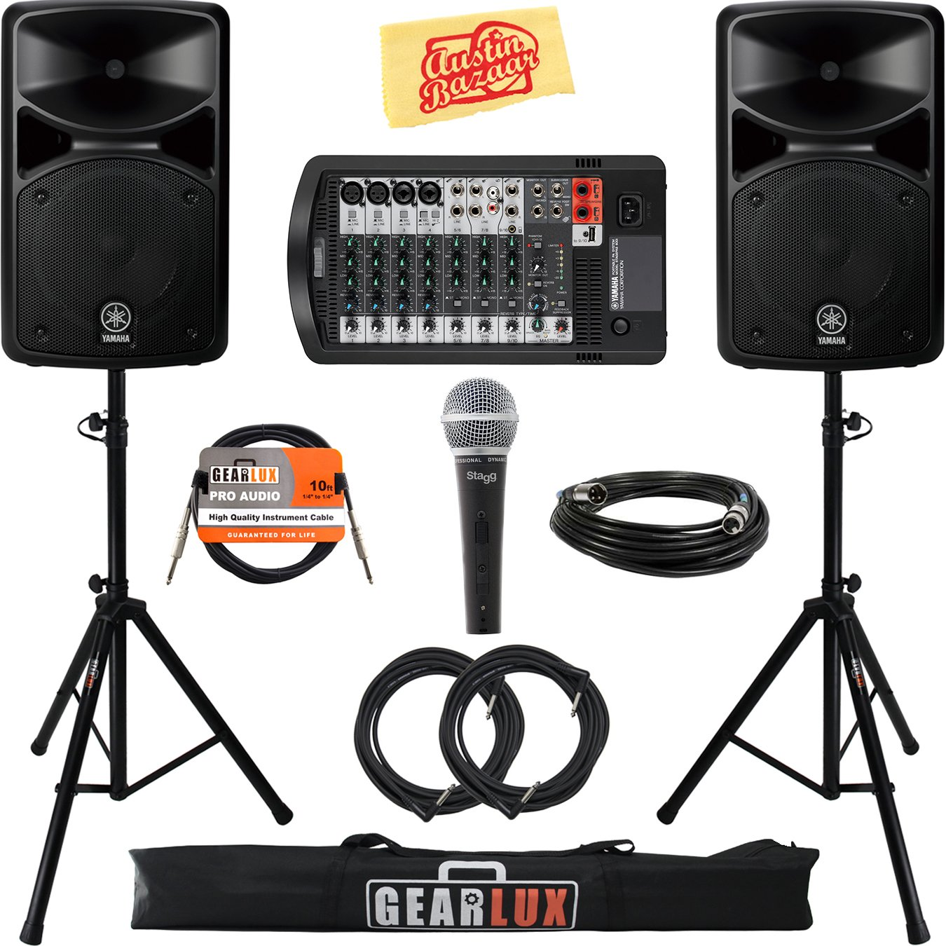 Yamaha STAGEPAS 600i Portable PA System Bundle with Microphone, Speaker Stands, Cables, and Austin Bazaar Polishing Cloth