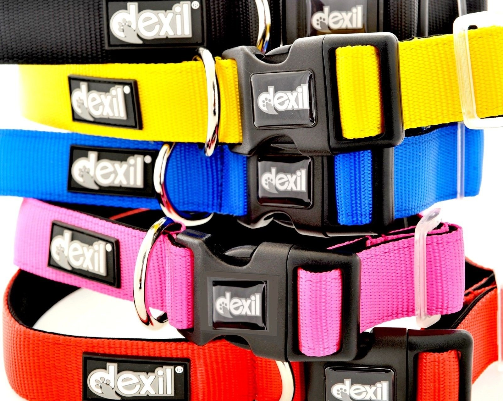 LIFETIME GUARANTEE! Dexil Elite Range Luxury Neoprene Padded Extra Strong Adjustable Large-XXL Pet Dog Collar (Flash Red, Large-XL 15-25inch x 1.25inch)