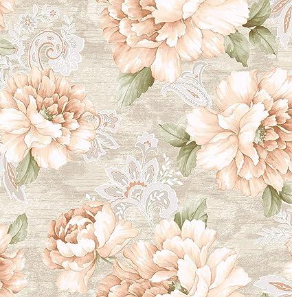 Canary Watercolor Floral Wallpaper Gray Blush Amazon Com