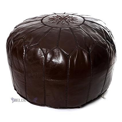 Amazoncom Stuffed Moroccan Chocolate Brown Leather Pouf Handmade