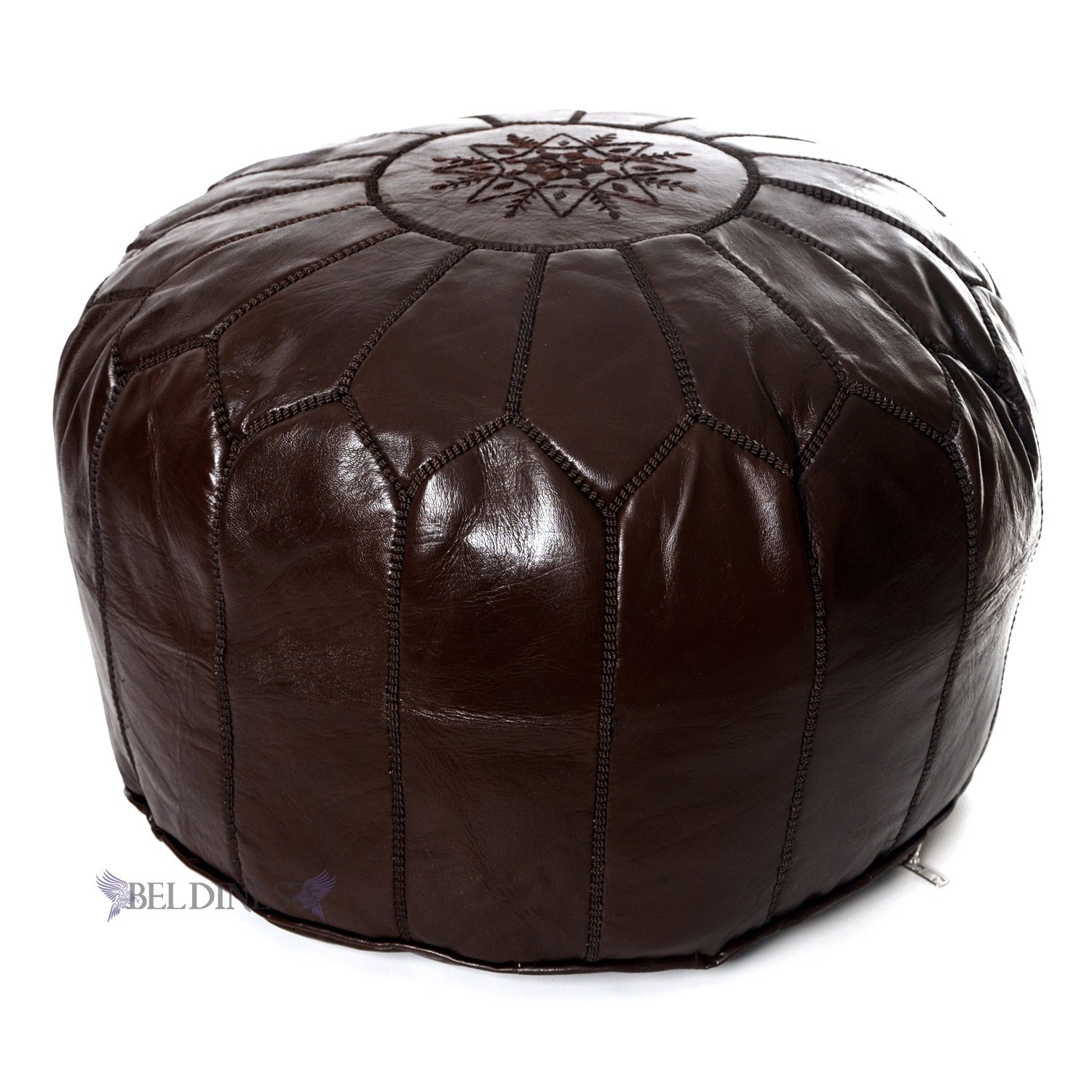 Stuffed Moroccan Chocolate Brown Leather Pouf, Handmade Ottoman, Pouffe, Hassock, Tuffet, Foot Stool, Seating Foot Rest