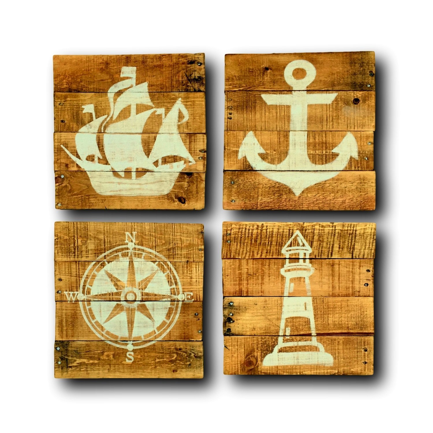 Amazon.com: Wood Compass Wall Hanging / Nautical Nursery / Pallet ...