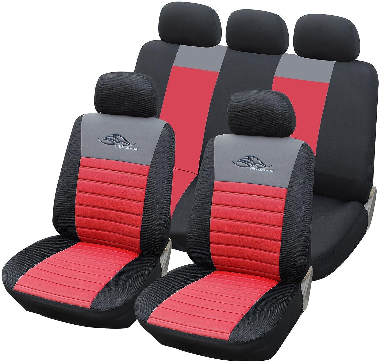 Colore nero2 E-starain Set coprisedili universali per Auto Protezioni in Poliestere 11 Pezzi per 5 sedili di Auto Dimensioni universali