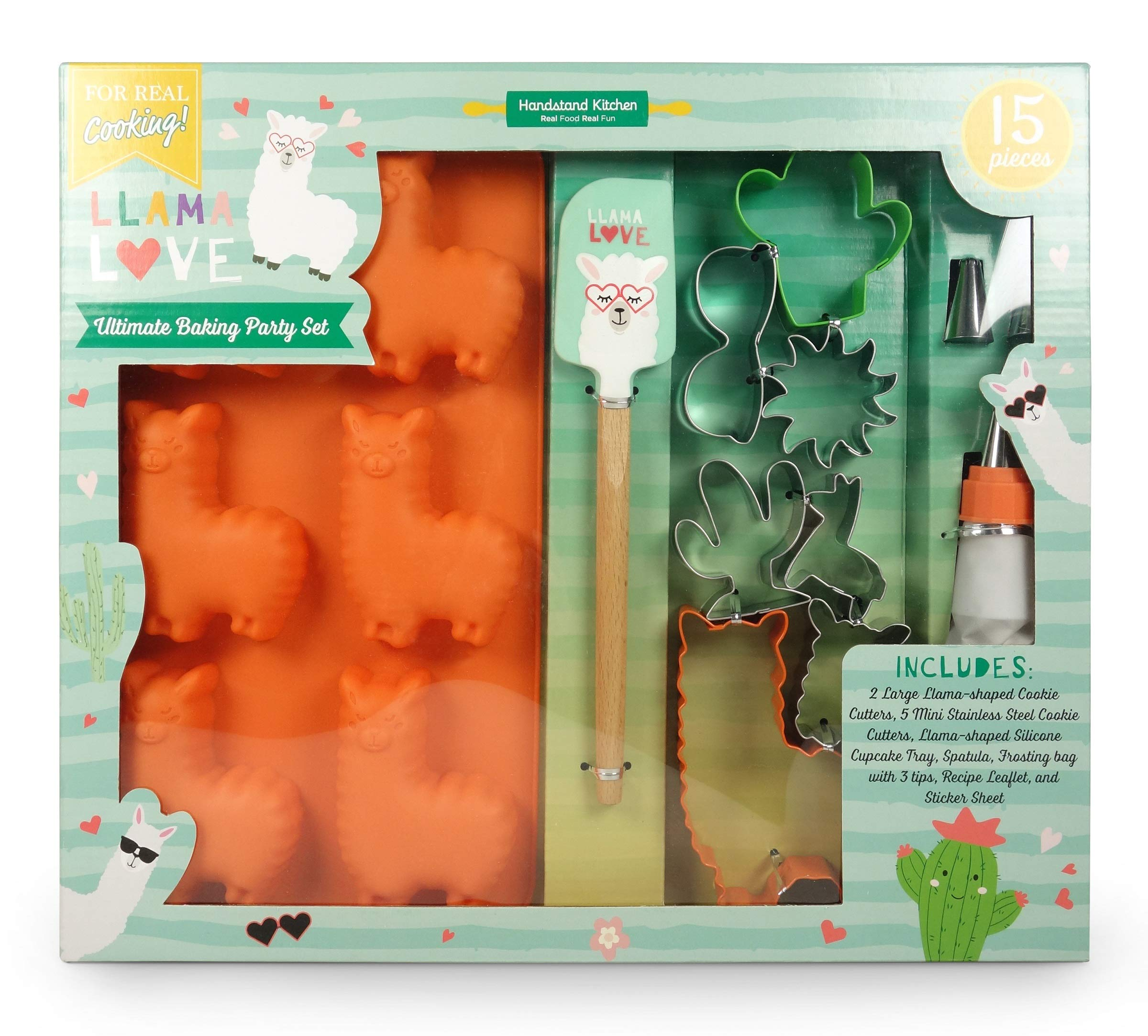 Handstand Kitchen Llama Love 15-piece Ultimate Baking Party with Recipes for Kids by Handstand Kitchen