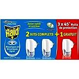 Raid Diffuseurs Électriques Liquide, 3 Diffuseurs + 3 Recharges, Moustiques et Moustiques Tigres, 45 Nuits, Insecticide