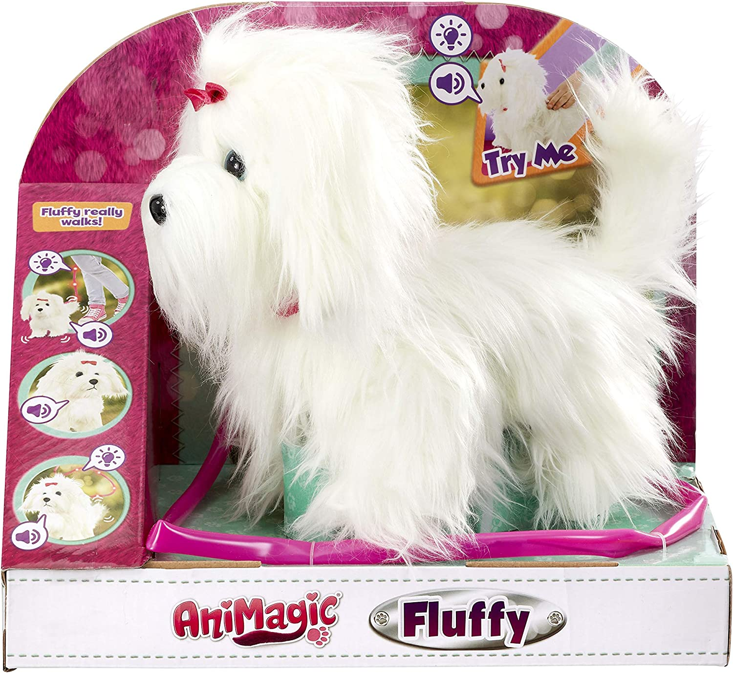 Animagic-256606 Fluffy Perro, Felpa Funcional, Color Blanco (256606)