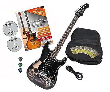 Rocktile Pro ST60 de SK - Guitarra eléctrica Calavera con accesorios (Guitarra funda, cable, púas, guitarras Escuela con CD y DVD, cuerdas de guitarra): ...
