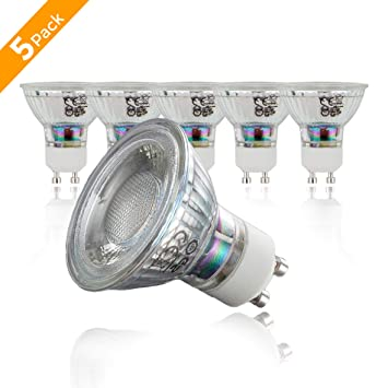 Juego de 5 bombillas LED GU10   Bombillas LED en forma de pera, 5 vatios