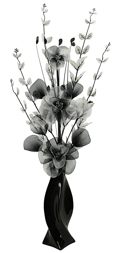 Black vase with black and white artificial flowers ornaments for black vase with black and white artificial flowers ornaments for living room home accessories mightylinksfo