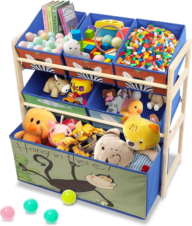 Scaffale Organizer per Giocattoli in Legno a 3 Strati di Grande capacit/à Theatly Scaffale per Giocattoli con Animali dei Cartoni Animati Blu Mobiletto Multi-Ripiano per Bambini
