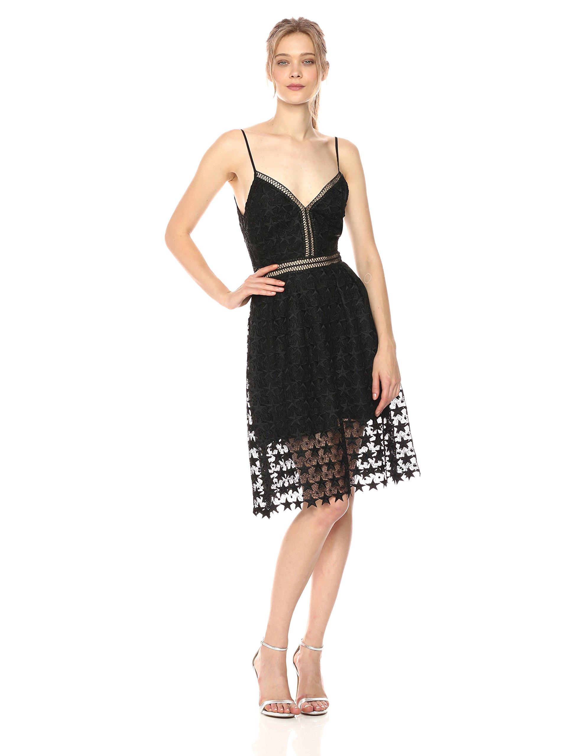 Sam Edelman Women's Star Lace Midi Dress, Black Star, 6