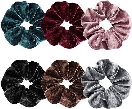 Ondder 6 Pack Large Hair Scrunchies Velvet Elastics Hair Ties ...