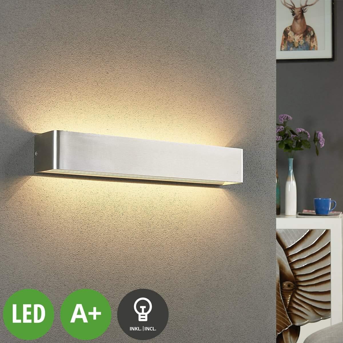 """Lampenwelt LED Wandleuchte""""Lonisa"""" (Modern) in Alu aus Metall u.a. für Wohnzimmer & Esszimmer (A+, inkl. Leuchtmittel)   LED-Wandlampe, Wandlampe, Licht nach oben unten, Wohnzimmerlampe"""
